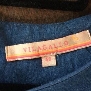 Vilagallo Dresses - Embroidered Denim Bell Sleeve Sheath